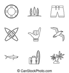 Surfing icons set, outline style - Surfing icons set....