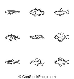 Fish icons set, outline style - Fish icons set. Outline...