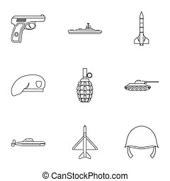 Equipment for war icons set, outline style - Equipment for...