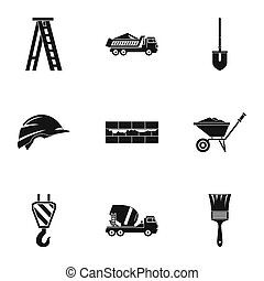 Construction tools icons set, simple style - Construction...