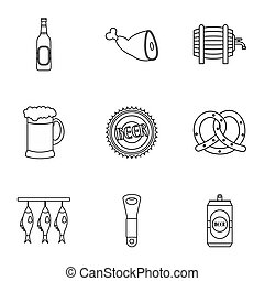 Beer icons set, outline style - Beer icons set. Outline...