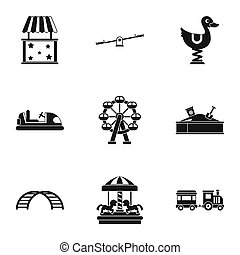 Rides icons set, simple style - Rides icons set. Simple...