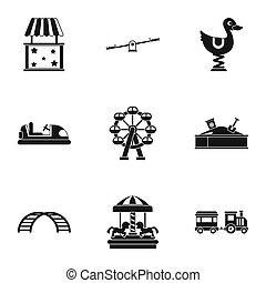 komplet, prosty, styl, zmarszczenie, ikony