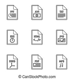 Files icons set, outline style - Files icons set. Outline...