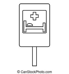 Hospital road sign icon, outline style