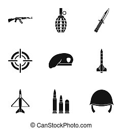 Military weapons icons set, simple style - Military weapons...