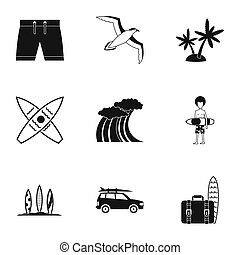 Surfing club icons set, simple style - Surfing club icons...