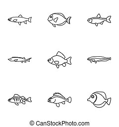 River fish icons set, outline style - River fish icons set....