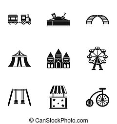 Swing icons set, simple style - Swing icons set. Simple...