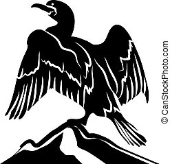 Abstract Cormorant in Black and White - Abstract Cormorant...