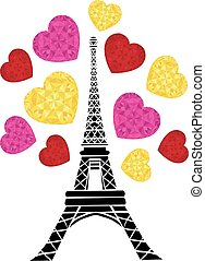 Vector Eifel Tower Paris Bursting With St Valentines Day Pink Red Golden Hearts Of Love