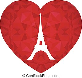 Vector Eifel Tower Paris On St Valentines Day Ruby Red Heart...