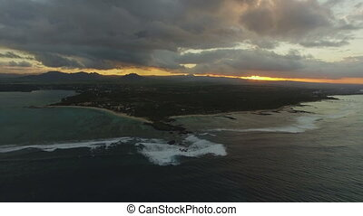 Aerial scene of Mauritius Island at sunset