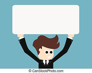 businessman holding blank sign.vector illustration.