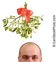 Under the Misteltoe - Happy man Under the Misteltoe isolated...