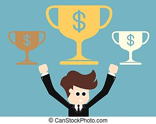 Happy businessman with gold cup .Success business concept...