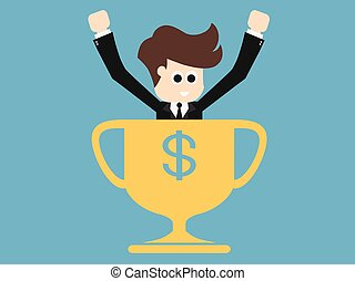 Happy businessman with gold cup .Success business...