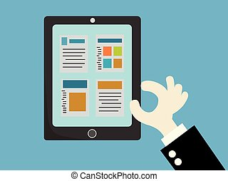 Tablets with a pie chart. Market data .vector illustration.