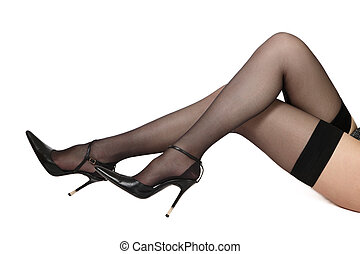 Legs in stockings - Long slim legs of woman in black...
