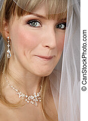 Bride with sly expression