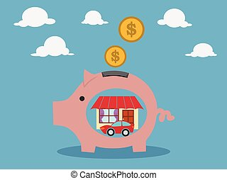Pink pig-moneybox. Save money for house property .vector...