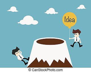 Commitment concept - Businessman climbing on the mountain....