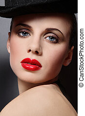 Cabaret girl - Close-up portrait of beautiful girl with...