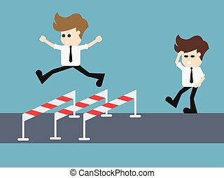 Concept Businessman Running Jumping .vector illustration.