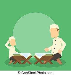 man teaching his son quran