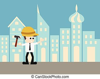 Engineer in city of future illustration. - Engineer in city...