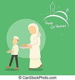 muslim boy helping his mom serving cookies