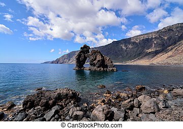 Roque de Bonanza beach in El Hierro Canary islands Spain