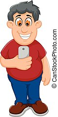 funny fat man cartoon playing mobile phone