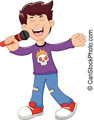 funny man cartoon singing - vector illustration of funny man...