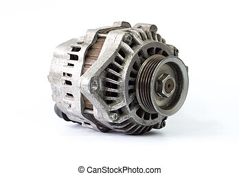 Old car alternator - Old alternator for the car on white...