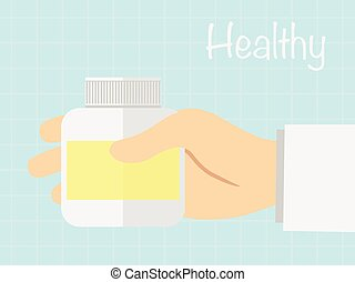 Hand holding medicine bottle to read label ,vecter healty...