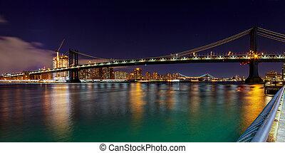 ponte, cidade,  Skyline,  York, Novo, noturna,  Manhattan