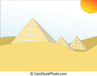 egypt pyramids - cartoon illustration egypt pyramids