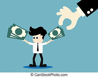 Businessman hand pick up money. Business concept. . vector...