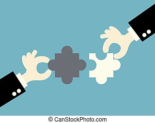 business matching - connecting puzzle elements.vector...