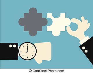 business matching - connecting puzzle elements illustration....