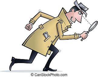 Detective Looking For Clues - Cartoon of a detective type...