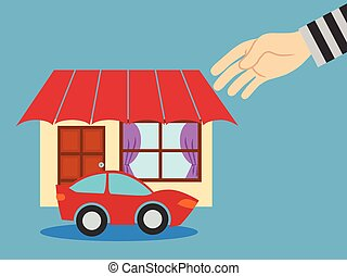 Thieves stealing a house. vector illustration.