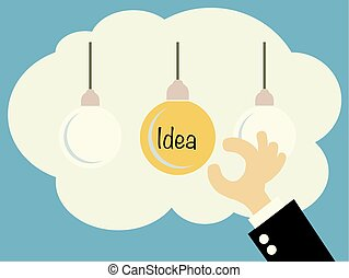 Businessman chooses one idea out of three other. A metaphor of the right decision.vector illustration.