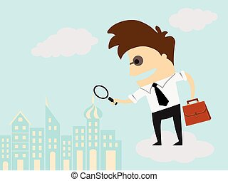 Business man examining with magnifying glass. Recruitment...
