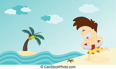Man running to summer beach. Vector illustration.