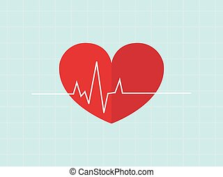 Heartbeat / heart beat pulse flat vecter for medical apps...