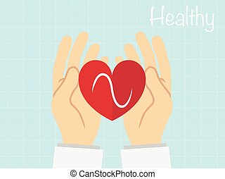 Red heart in  the hand , healthy concept