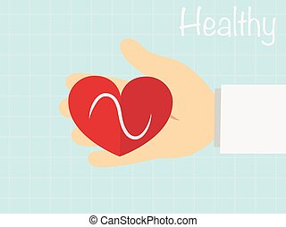 Red heart in  the hand ,vecter healty concept