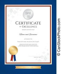 Certificate of excellence template in portrait with blue border and gold ribbon tag